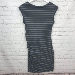 Athleta Dresses - Athleta Gray Striped Carefree Stretch Ruched Dress